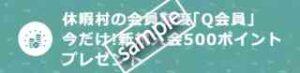 休暇村のQ会員新規入会限定!500ポイントプレゼント