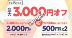 初回&先着15万人限定!最大3000円OFFクーポン